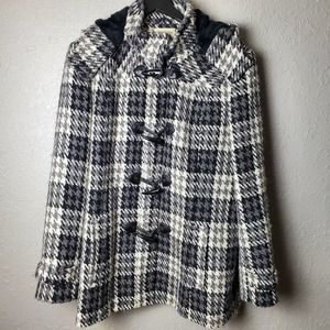 St. John's Bay Houndstooth Wool Blend Peacoat Sz1X